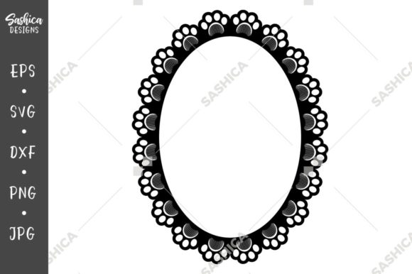 Download Free Paw Print And Grooming Comb Oval Frame Graphic By Sashica SVG Cut Files