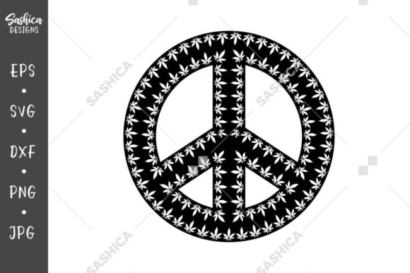 Download Free Peace Sign With Marihuana Leaves Graphic By Sashica Designs for Cricut Explore, Silhouette and other cutting machines.