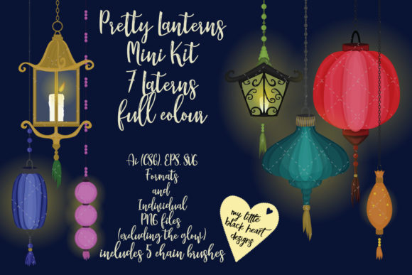 Download Free Pretty Little Lanterns Mini Kit Graphic By My Little Black Heart for Cricut Explore, Silhouette and other cutting machines.