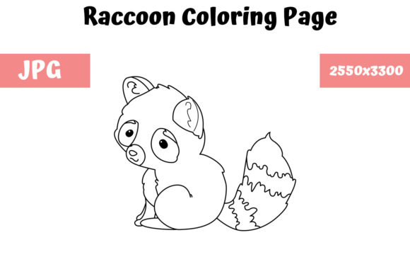Print on Demand: Raccoon Coloring Book Page for Kids Graphic Coloring Pages & Books Kids By MyBeautifulFiles