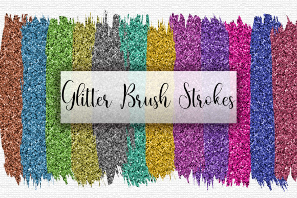 Rainbow Glitter Brush Stroke Clip Art Graphic Backgrounds By PinkPearly