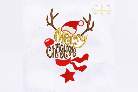 Reindeer Merry Christmas Christmas Embroidery Design By RoyalEmbroideries
