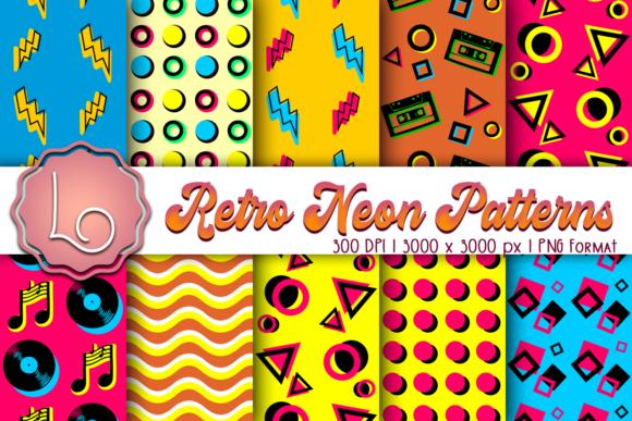 Download Free Retro Neon Patterns Graphic By La Oliveira Creative Fabrica for Cricut Explore, Silhouette and other cutting machines.