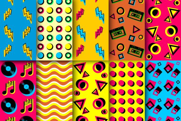 Retro Neon Patterns Graphic By La Oliveira Creative Fabrica