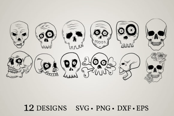 Download Free Skull Clipart Bundle Graphic By Euphoria Design Creative Fabrica for Cricut Explore, Silhouette and other cutting machines.