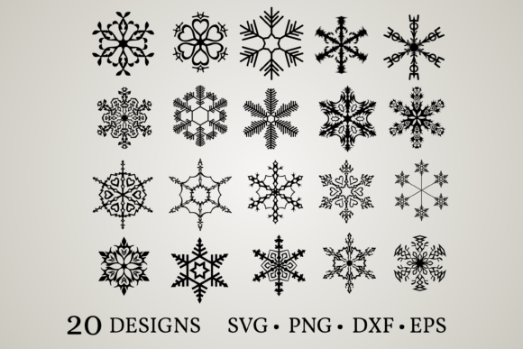 Snowflake Bundle Graphic Print Templates By Euphoria Design