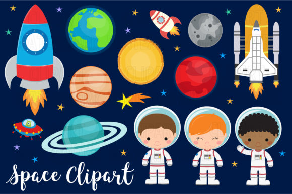 Space and Planets Clipart Graphic Illustrations By magreenhouse