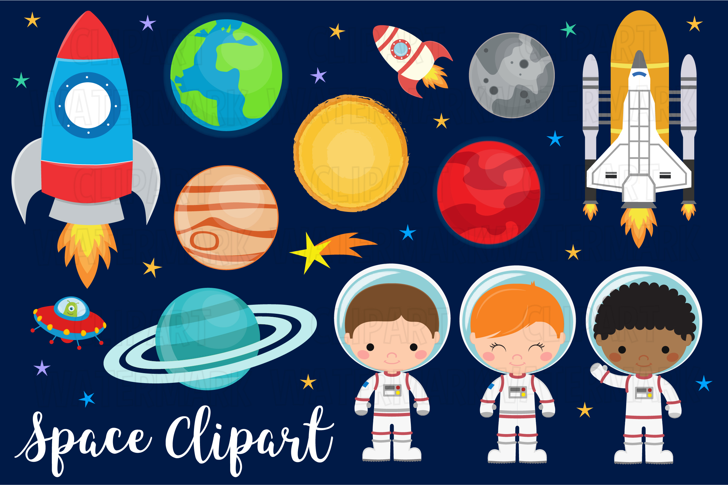 Download Free Space And Planets Clipart Graphic By Magreenhouse Creative Fabrica for Cricut Explore, Silhouette and other cutting machines.