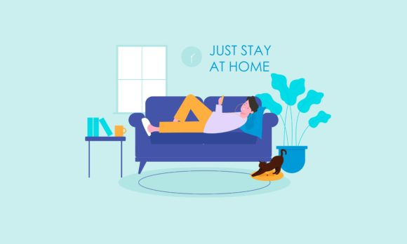 Stay at Home Concept Flat Illustration Graphic Illustrations By DEEMKA STUDIO