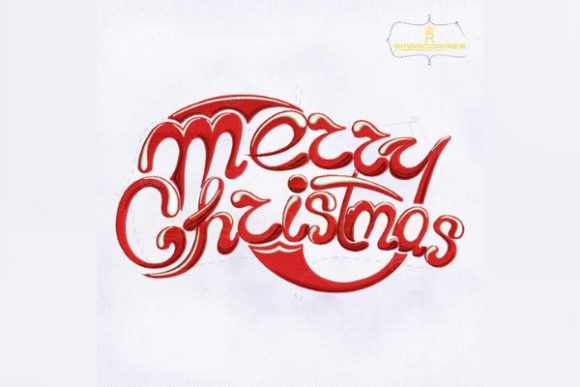 Stylish Merry Christmas Lettering Christmas Embroidery Design By RoyalEmbroideries