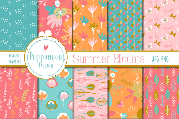 Download Free Summer Blooms Graphic By Poppymoondesign Creative Fabrica for Cricut Explore, Silhouette and other cutting machines.