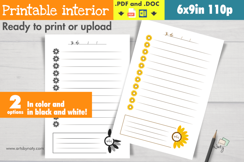 Download Free Sunflower To Do List Printable Interior Graphic By Artsbynaty for Cricut Explore, Silhouette and other cutting machines.