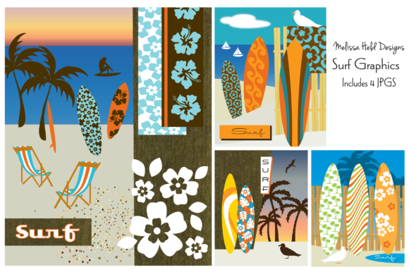 Surf Prints Graphic Illustrations By Melissa Held Designs