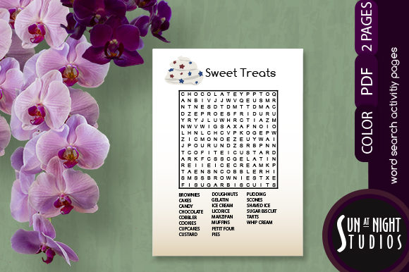 Sweet Treats Word Search Activity Graphic Teaching Materials By Sun At Night Studios