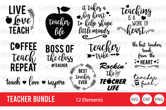 Download Free Teacher Bundle Graphic By Cutfilesgallery Creative Fabrica for Cricut Explore, Silhouette and other cutting machines.