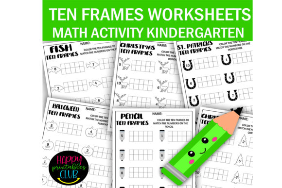 Download Free Ten Frames Math Worksheets Kindergarten Graphic By Happy for Cricut Explore, Silhouette and other cutting machines.