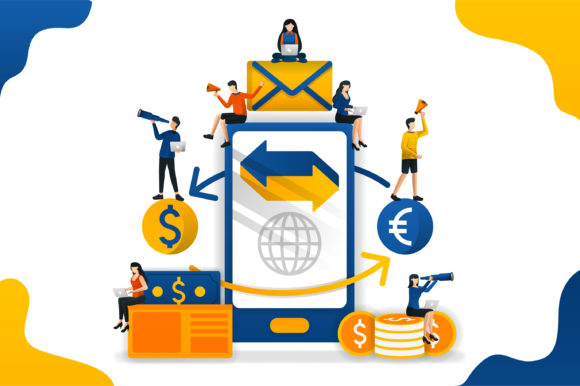Download Free Transfer And Send Money With Apps Graphic By Setiawanarief111 SVG Cut Files