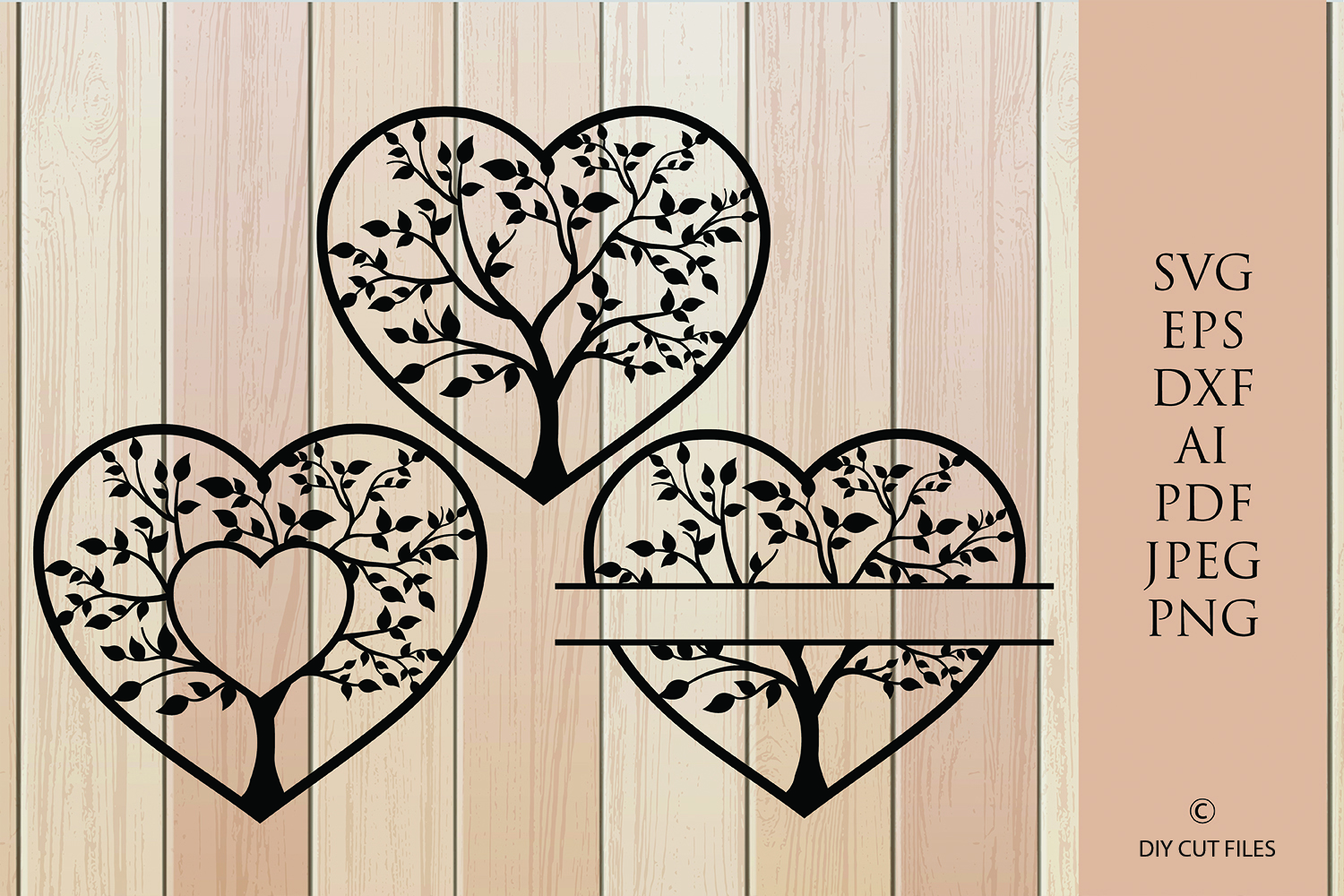 Download Free Tree Heart Frames Paper Cut Template Graphic By Diycuttingfiles for Cricut Explore, Silhouette and other cutting machines.