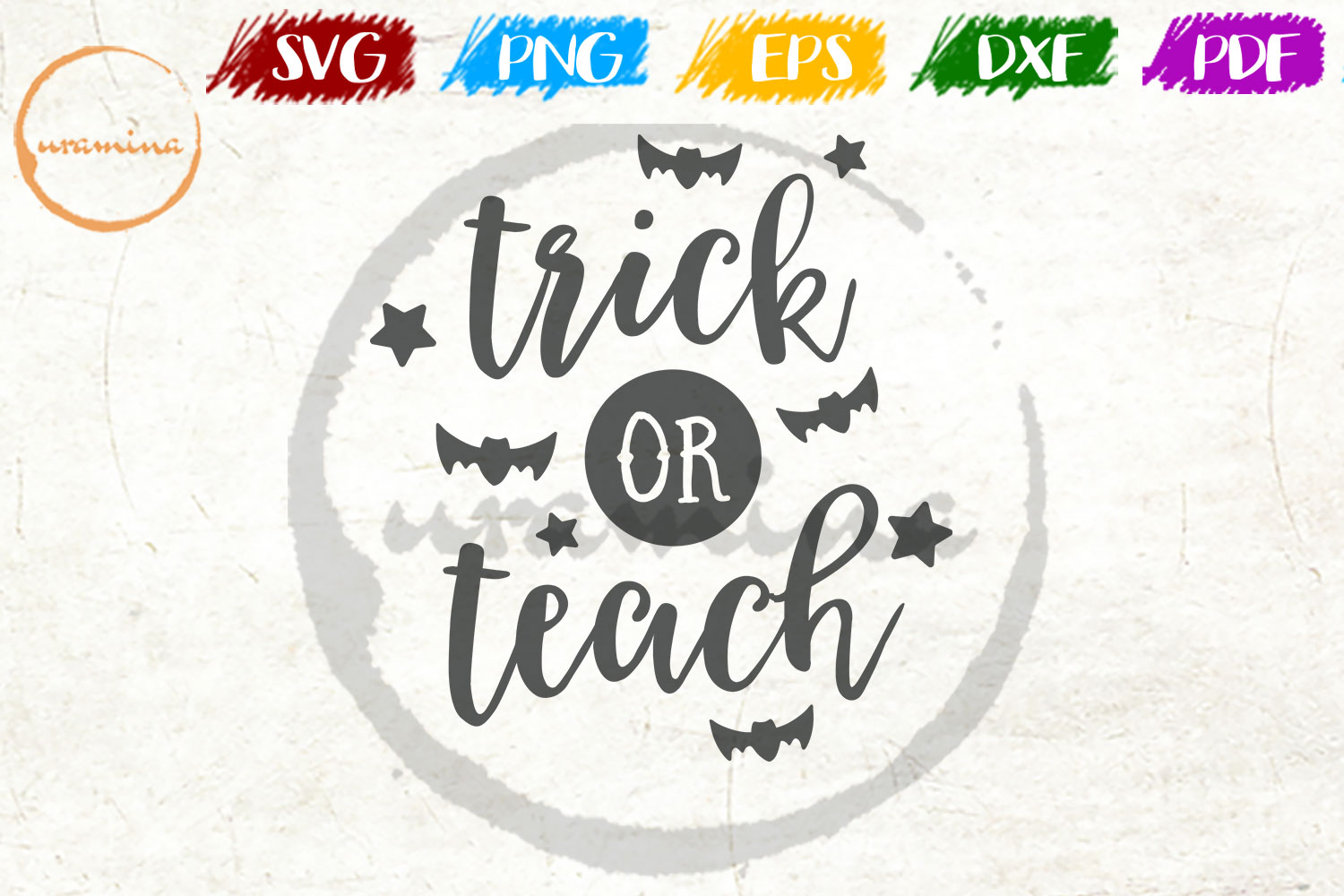 Download Free Trick Or Teach Graphic By Uramina Creative Fabrica for Cricut Explore, Silhouette and other cutting machines.