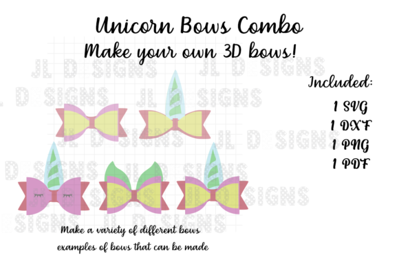 Download Free Unicorn Bows Combo Graphic By Jl Designs Creative Fabrica for Cricut Explore, Silhouette and other cutting machines.