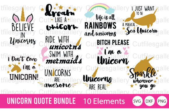 Download Free Unicorn Quote Bundle Graphic By Cutfilesgallery Creative Fabrica for Cricut Explore, Silhouette and other cutting machines.