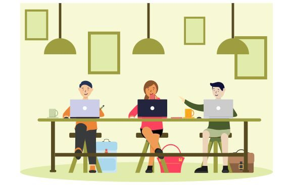 Vector Illustration Coworking Graphic Illustrations By Redvy Creative