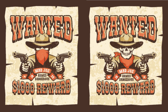 Download Free Wanted Wild West Cowboy 3 Posters Grafik Von Agor2012 Creative for Cricut Explore, Silhouette and other cutting machines.