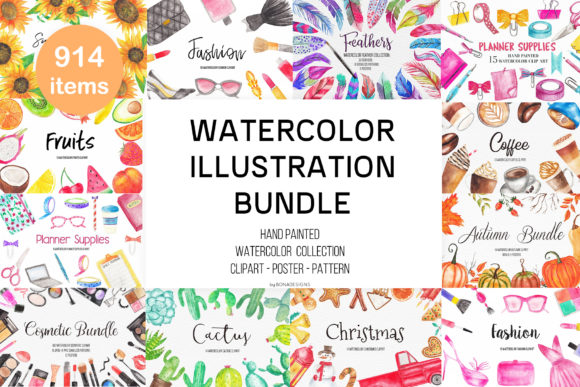 Watercolor Illustration Clipart Bundle Gráfico Ilustraciones Por BonaDesigns