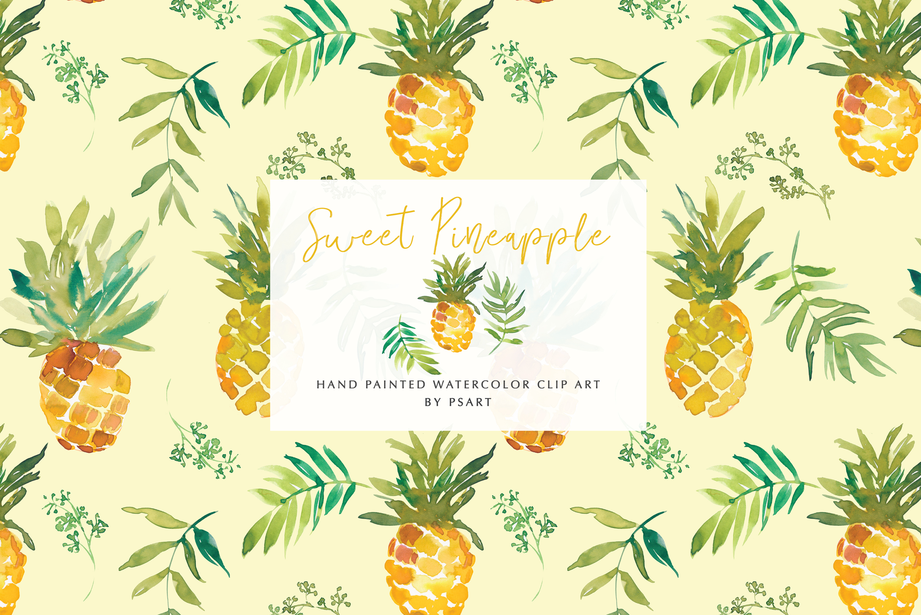 Download Free Watercolor Pineapple Clipart Collection Graphic By Patishop Art for Cricut Explore, Silhouette and other cutting machines.