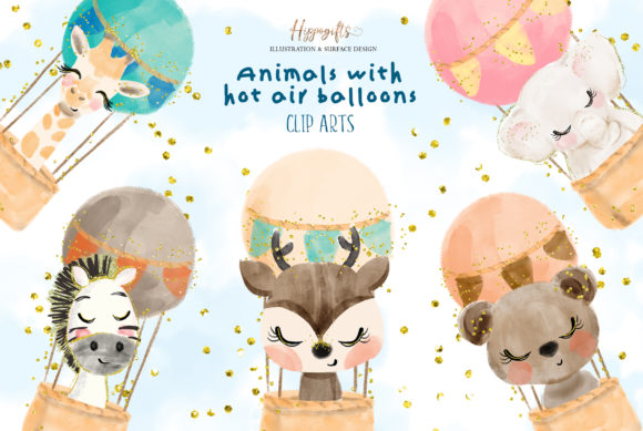 Watercolor Animals with Hot Air Balloon Graphic Illustrations By Hippogifts - Image 1