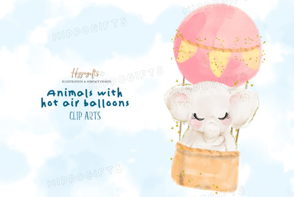 Watercolor Animals with Hot Air Balloon Graphic Illustrations By Hippogifts - Image 2