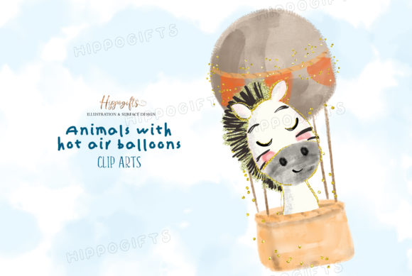 Watercolor Animals with Hot Air Balloon Graphic Illustrations By Hippogifts - Image 3