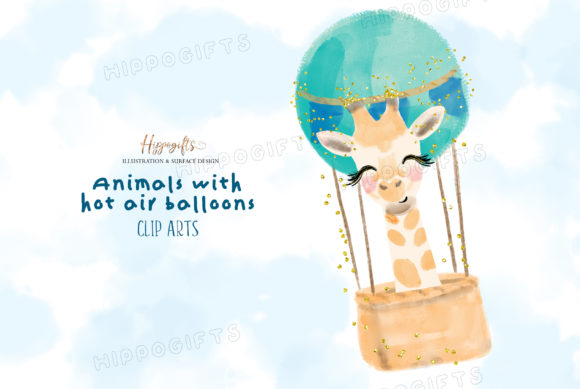 Watercolor Animals with Hot Air Balloon Graphic Illustrations By Hippogifts - Image 4
