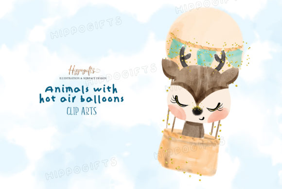 Watercolor Animals with Hot Air Balloon Graphic Illustrations By Hippogifts - Image 5