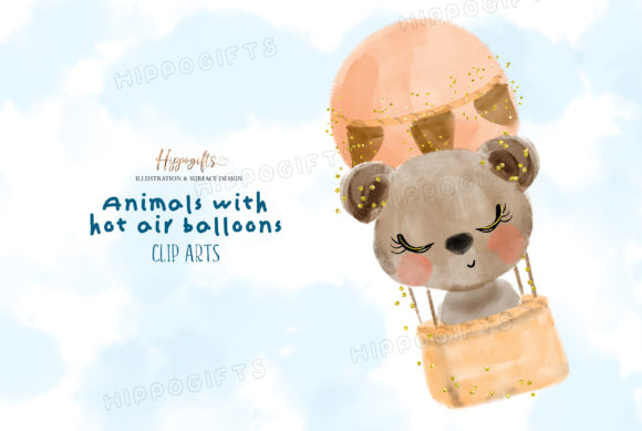 Watercolor Animals with Hot Air Balloon Graphic Illustrations By Hippogifts - Image 6
