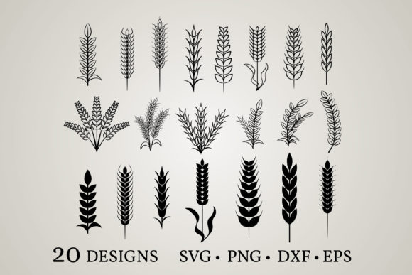Download Free Wheat Bundle Graphic By Euphoria Design Creative Fabrica for Cricut Explore, Silhouette and other cutting machines.
