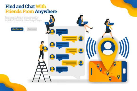 Download Free Banner Of Chat Communicate Apps Graphic By Setiawanarief111 for Cricut Explore, Silhouette and other cutting machines.