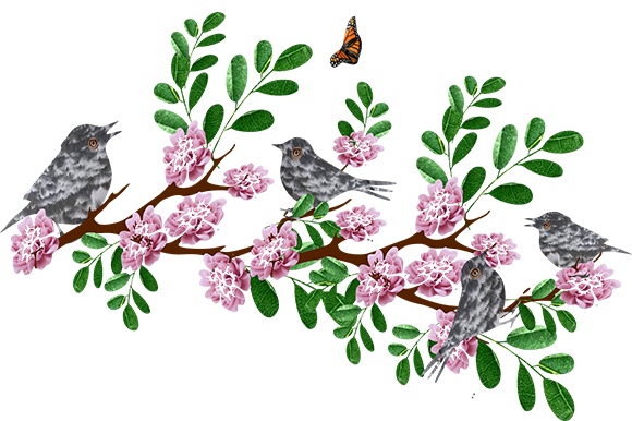 Download Free Birds On A Branch Of Pink Flower Graphic By Arts4busykids SVG Cut Files