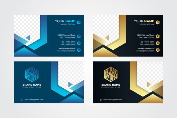 Print on Demand: Business Card Blue Hexagon Gold Graphic Graphic Templates By noory.shopper