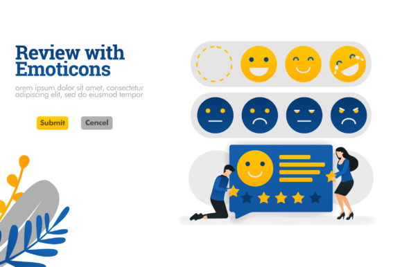 Download Free Illustration Of Review With Emoticons Graphic By for Cricut Explore, Silhouette and other cutting machines.