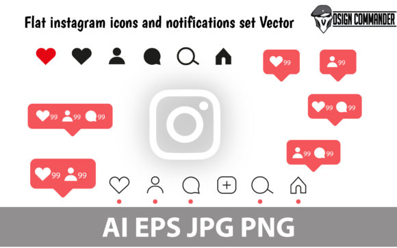 Print on Demand: Instagram Icon Set Pack Design Vector Graphic Icons By designcommander62