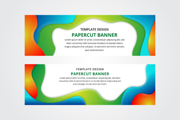 Print on Demand: Liquid Banner Horizontal Green Blue Graphic Backgrounds By noory.shopper
