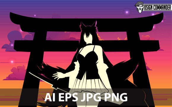Download Free Silhouette Of The Fanart Anime Character Graphic By for Cricut Explore, Silhouette and other cutting machines.