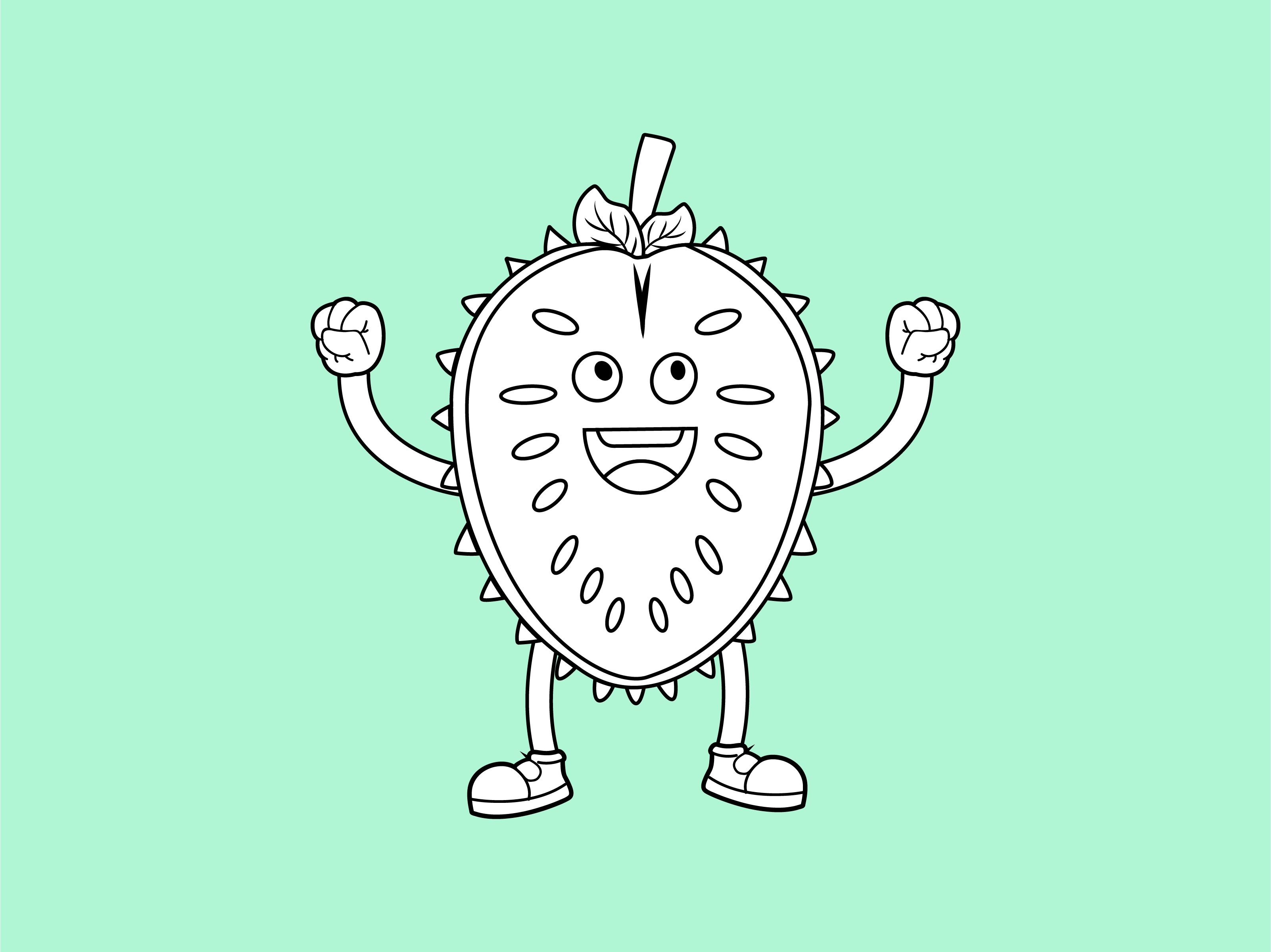 Download Free Soursop Outline Icon Cartoon Character Graphic By 1tokosepatu Creative Fabrica for Cricut Explore, Silhouette and other cutting machines.