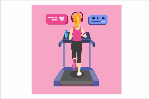 Download Free Young Woman Running On Treadmill Vector Graphic By Aryo Hadi for Cricut Explore, Silhouette and other cutting machines.