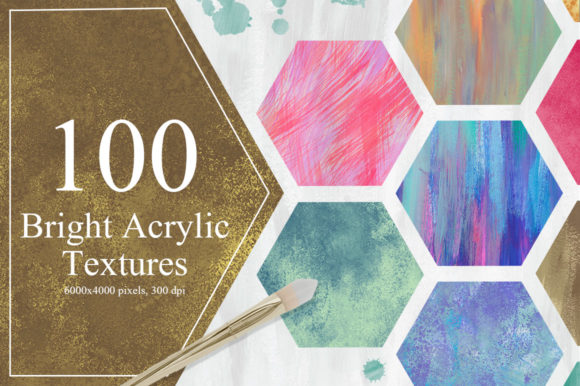 100 Bright Acrylic Textures Graphic Textures By NassyArt