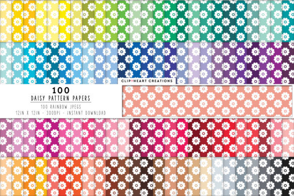 100 Daisy Flower Papers Graphic Backgrounds By clipheartcreations - Image 1
