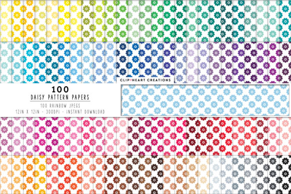 100 Daisy Flower Papers Graphic Backgrounds By clipheartcreations
