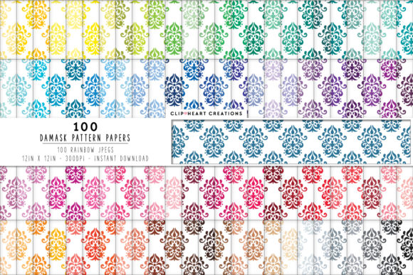 100 Damask Pattern Papers Graphic Backgrounds By clipheartcreations