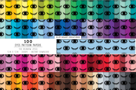100 Eye Pattern Paper Graphic Backgrounds By clipheartcreations - Image 1